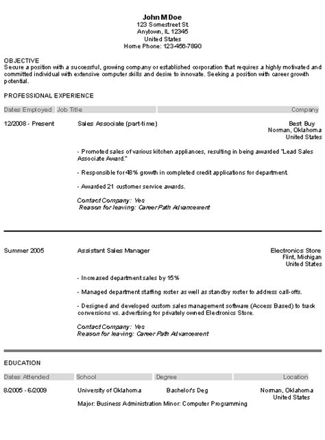 Resume Exle For Entry Level Entry Level Resume Sle