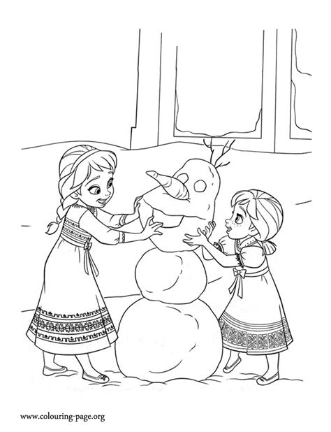 frozen coloring pages baby elsa frozen the young sisters building a snowman together