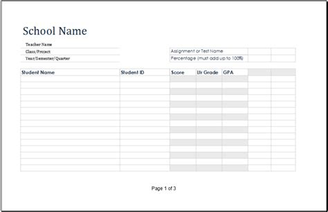 Ms Excel Printable Student Grade Book Template Excel Templates Template For Students