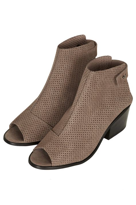 topshop above perforated peep toe boots in beige oatmeal