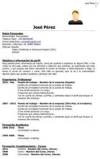 Plantilla De Curriculum Vitae Primer Trabajo Primer Empleo Como Preparar El Curriculum Vitae