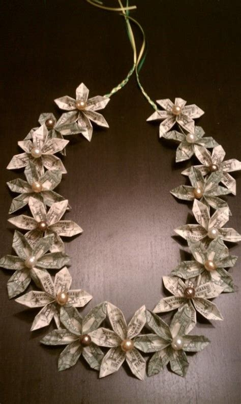 How To Make Paper Flower Leis - flower money used ribbon and floral wire from
