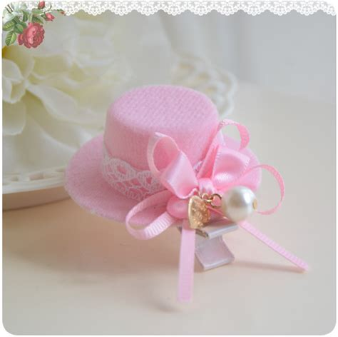 hair accessories children baby beautiful pink pearl ribbon pink fancy top hat for hair accessories