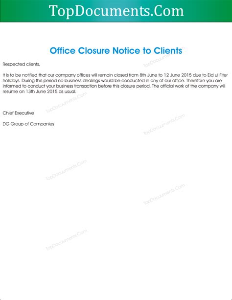 Business Letter Templates Office Closing During Business Letter Templates Office Closing During Gallery For Gt Office Closed