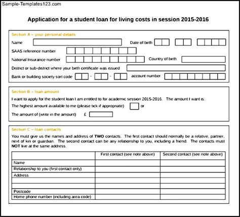 student loan application form pdf sle templates