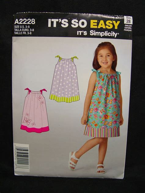 dress pattern 2 yards new simplicity a2228 it s so easy girl pillowcase dress