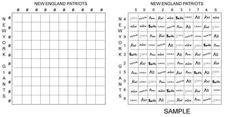 football square board template 100 square football board 100 square football board