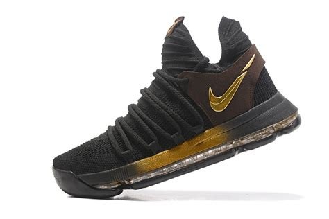 black and gold nike shoes 2017 cheap nike kd 10 black gold basketball shoes for sale