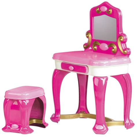 Vanity Table Cheap Furniture White Pink Plastic Girls Vanity Set With Single
