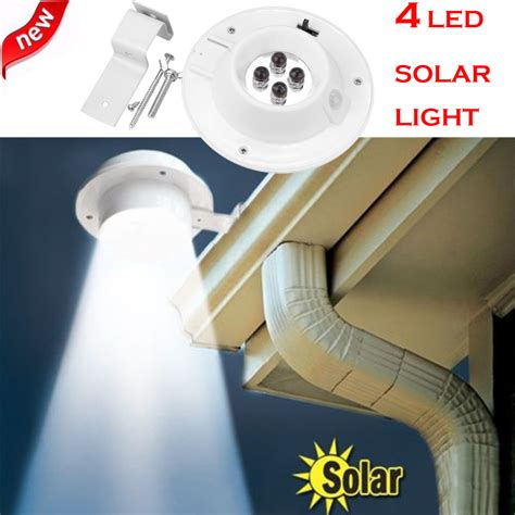 solar powered gutter light reviews new 4 led solar powered gutter light outdoor garden yard