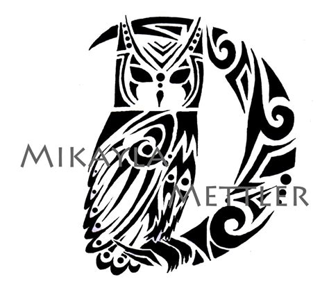 celtic owl and moon by tattoo design on deviantart great horned owl and crescent moon by mikaylamettler on