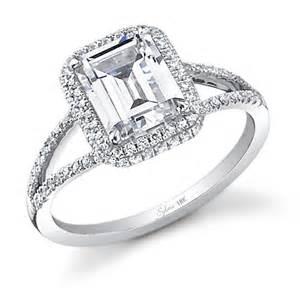 glamorous emerald cut split shank engagement ring