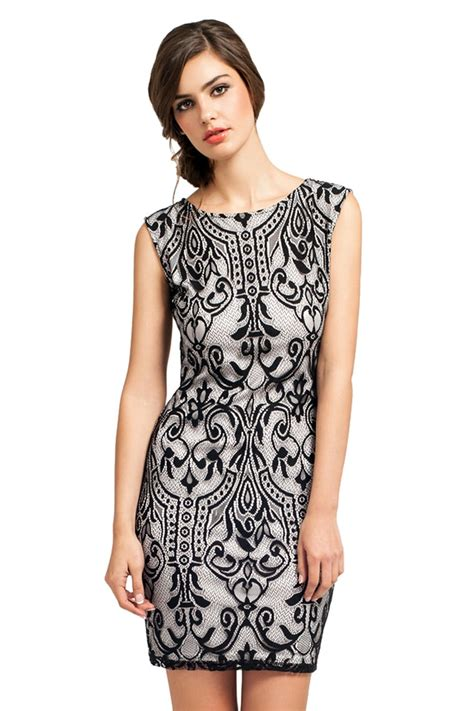 21867 Blackwhite Lace black and white lace overlay detail bodycon dress