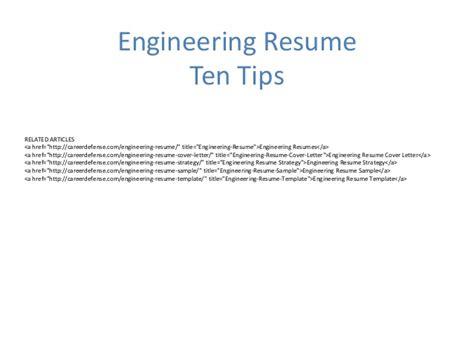 Engineering Resume Tips
