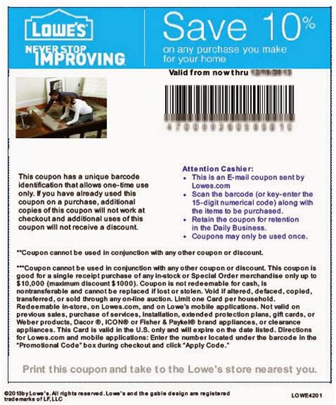 lowes home improvement coupons january 2015