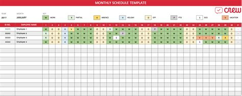 Free Monthly Work Schedule Template Crew Free Monthly Work Schedule Template