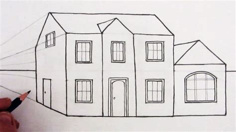 sketch a house pencil sketch of a house how to draw a house in 1 point