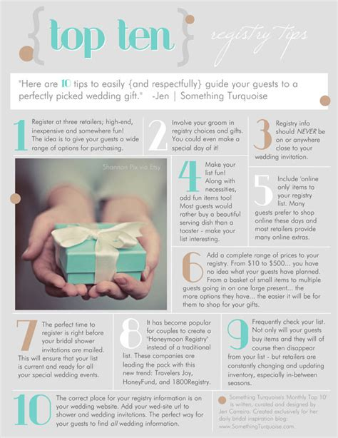 Wedding Gift Registry List by Top 10 Registry Tips Something Turquoise