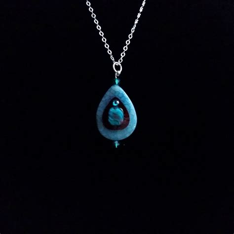cyan teardrop designer fashion necklace db dazzling