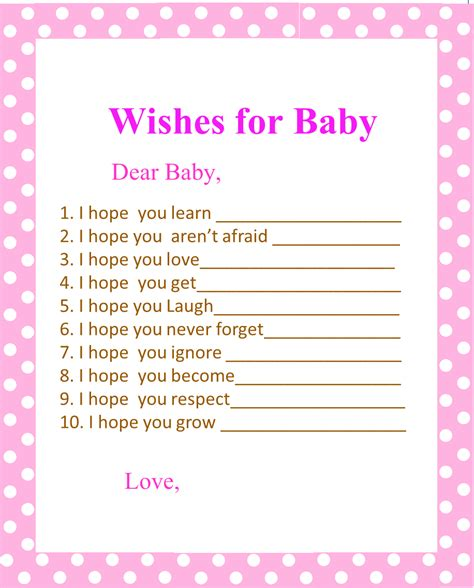 baby shower wish list template 5 best images of printable baby shower wishes free