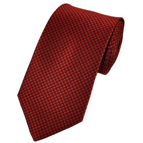 burgundy houndstooth checked tie from
