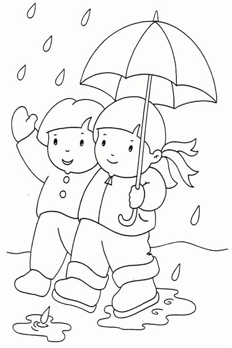 colouring pages for rainy season print out spring girl
