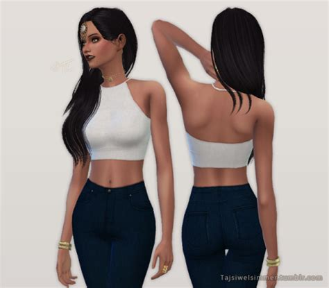sims 4 female halter top tajsiwelsimmer keep you up top 6 color options sims
