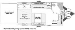 Front Kitchen Rv Floor Plans toy hauler floorplans custom and standard models from