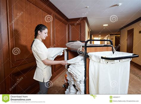 chambermaid at hotel stock image image of