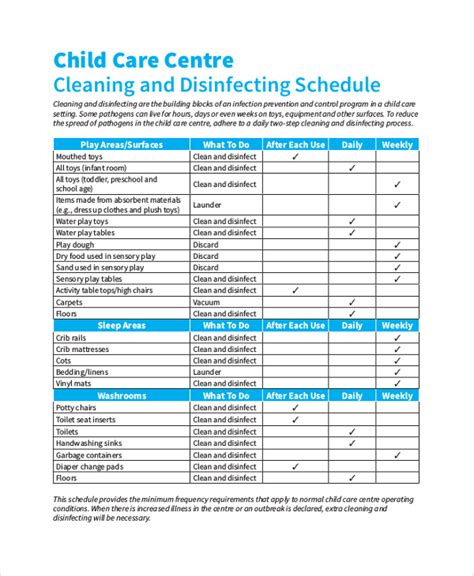 daycare cleaning checklist templates sle schedule 47 exles in pdf word excel