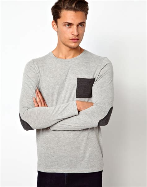 Longsleeve Dgrey Leather Patch asos sleeve t shirt with contrast pocket and patches in gray for