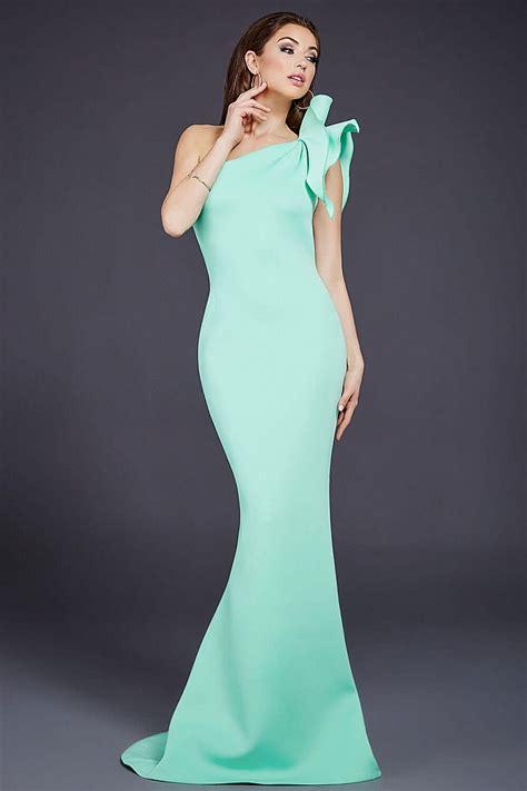 Mermaid Dress Scuba 02 fitted mermaid scuba one shoulder prom dress features ruffle details