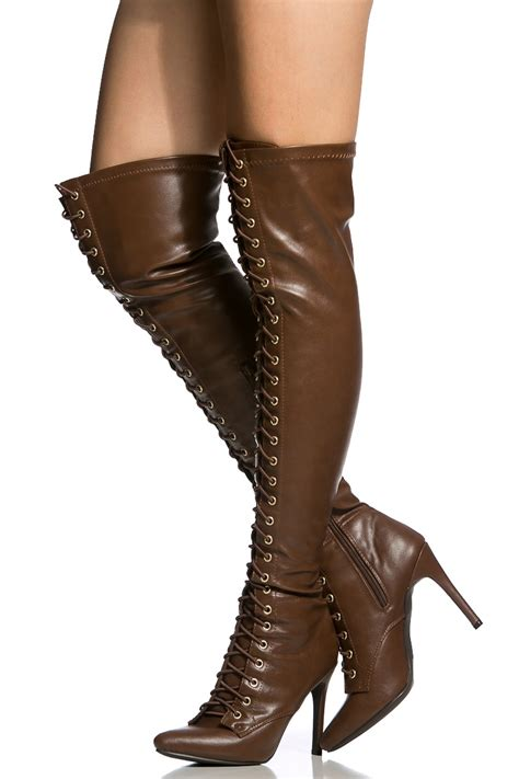 faux leather lace up thigh high boots cicihot boots