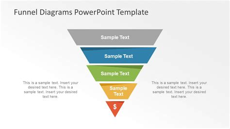 editable five step powerpoint funnel slidemodel