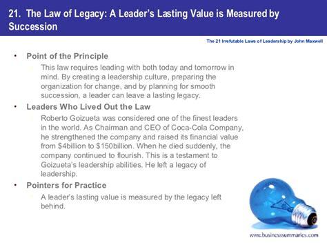 .book summary the 21 laws of irrefutable leadership by john maxwell