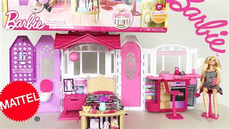 youtube barbie doll house barbie glam getaway house bonus doll 30 quot wide unboxing assemble youtube