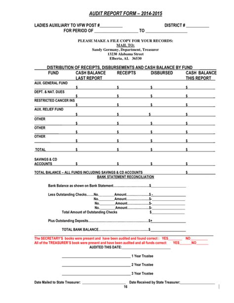 audit report template printable audit report form template with blank filled