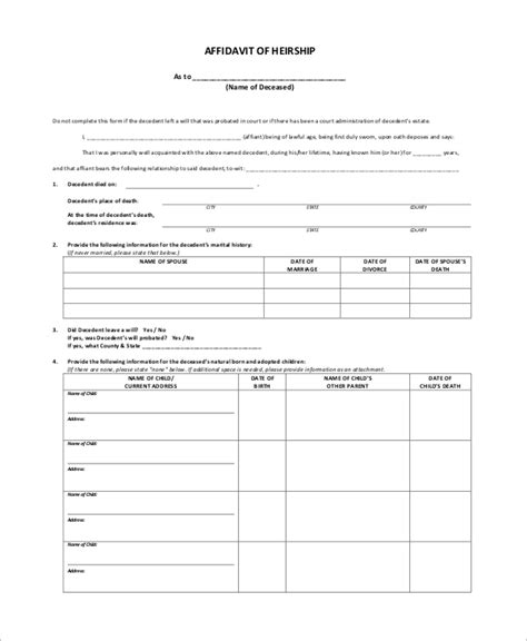 8 Sle Affidavit Forms Sle Templates Affidavit Of Heirship Template