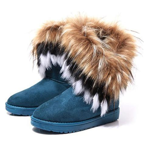 s winter boots with fur 2015 winter warm high snow boots faux fox fur rabbit