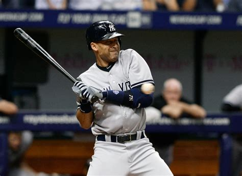 jeter swing captain feels the crunch derek jeter plunked by rays and
