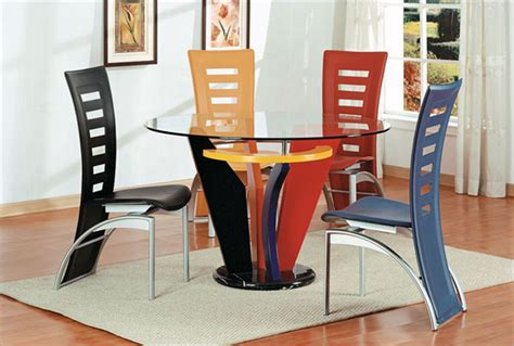 colorful dining table design with glass material and unique chairs sayleng