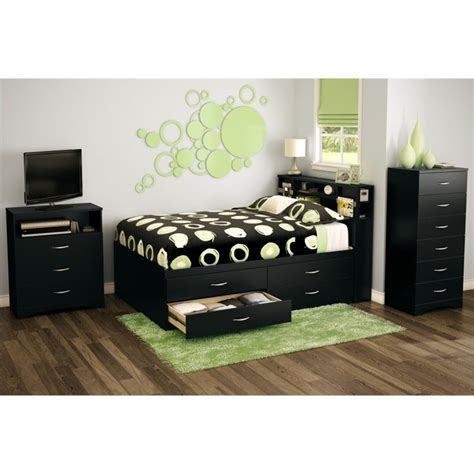 South Shore Back Bay Full Captains Bed In Pure Black 3107209 Black Captains Bed
