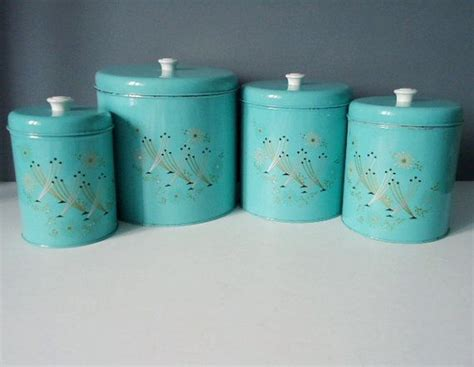 turquoise kitchen canisters turquoise kitchen canister set from the 1950s