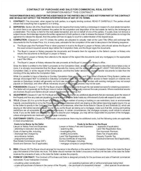 6 Sle Commercial Real Estate Purchase Agreements Sle Templates Commercial Real Estate Purchase Contract Template