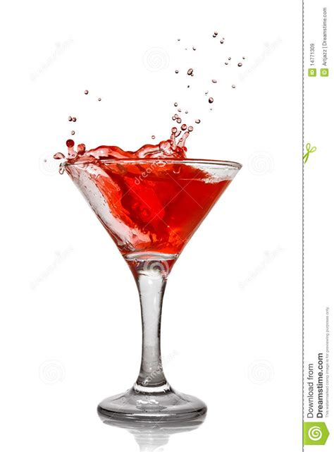 red martini splash red cocktail with splash isolated royalty free stock