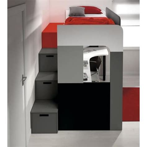 Lit Mezzanine Pong Avec Bureau Et Biblioth 232 Que Achat Lit Mezzanine Avec Bureau