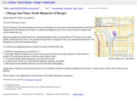 craigslist car template craigslist ad spoofed screenshot mock sun times after
