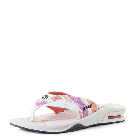 womens reef fanning womens reef fanning pink and coral lines toe post flip