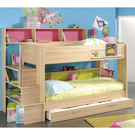 Simple Bunk Beds Iddylic Bunk Beds With Simple Mattress Closed Pink Book Shelf And Sweet Wood Stair Plus