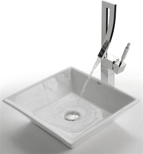 square bathroom faucets kraus c kcv 125 1200 white square ceramic sink and
